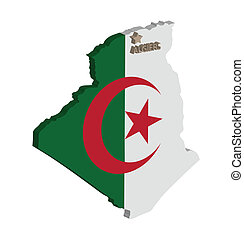 algeria - 3d map of algeria with flag and capital marked