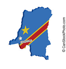 congo - 3d map of congo with flag and capital marked