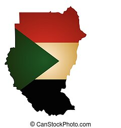 sudan map - some old vintage map with flag of sudan
