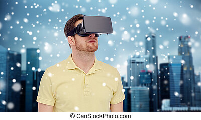 man in virtual reality headset or 3d glasses - technology,...