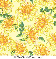 Seamless pattern with chrysanthemum flowers. Bright buds and...