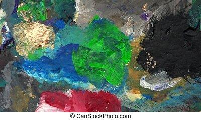 Paint palette color detail. Turntable - Paint palette color...