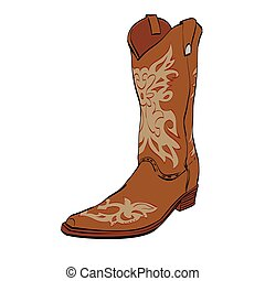 Leather cowboy boots, color vector illustration isolated