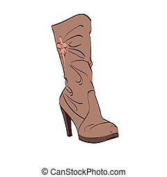 Leather womens boots high heel
