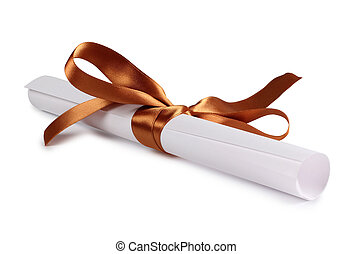 Paper on white - Paper scroll and bow on a white background