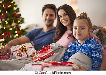 Family portrait in Christmas morning