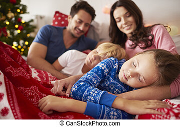 Sleeping kids at Christmas morning