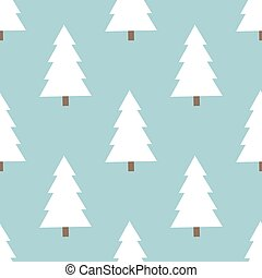 White Christmas trees pattern. Vector illustration