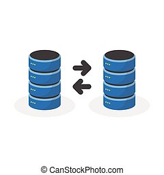 Data storage icon with connect multi base storage