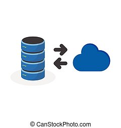 Data storage icon with connect cloud base storage