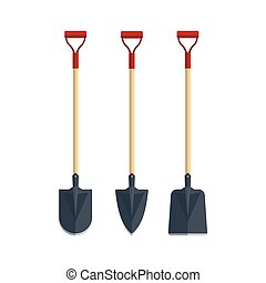 Set shovel spade flat tool icon logo vector illustration. Farming equipment. Garden instruments isolated on white background.
