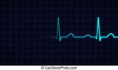 heartbeat curve animation - animation of a blue heartbeat...