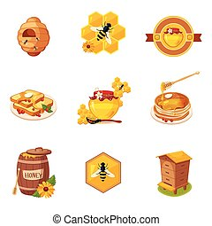 Honey And Related Food Label Set Of Illustrations
