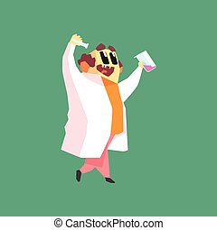 Funny Scientist In Lab Coat Walking With Two Test Tubes