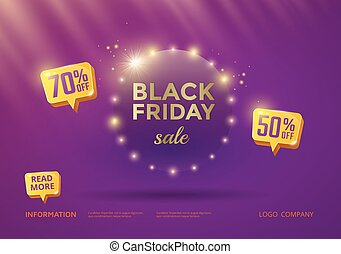 Black Friday sale poster design with purple background and...