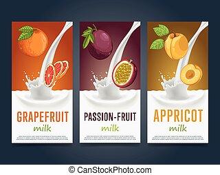 Milkshake concept with milk splash and fruit vector...