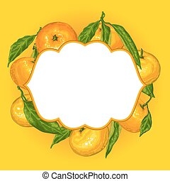 Frame with mandarins. Tropical fruits and leaves.