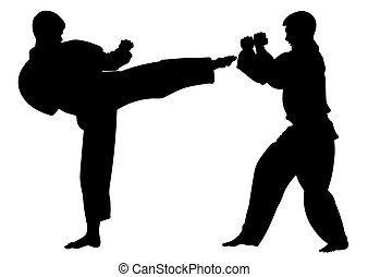 Silhouette karate athletes, conducting a training match