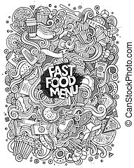 Cartoon cute doodles hand drawn Fastfood illustration. Line...