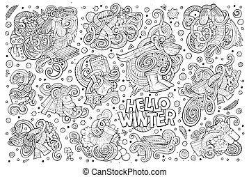 Cartoon set of Winter season doodles designs - Line art...