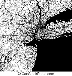 New York City, USA, Monochrome Map Artprint