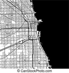 Chicago, USA, Monochrome Map Artprint, Vector Outline...