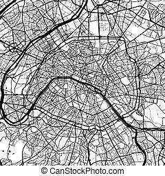 Paris, France, Monochrome Map Artprint, Vector Outline...