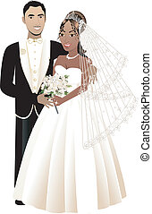 Newly Weds 4 Blank - Vector Illustration. A beautiful bride...