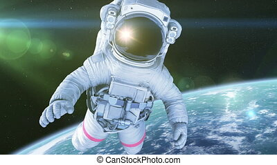 Astronaut in Space. 3d animation with a green screen, full...