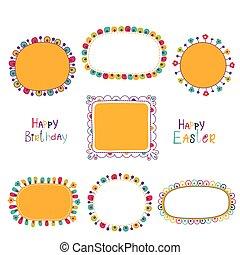 Set of cute doodle frames