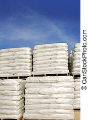 sandbags bags white pallet sacks stacked
