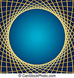 blue background with distorted gold grid - vector