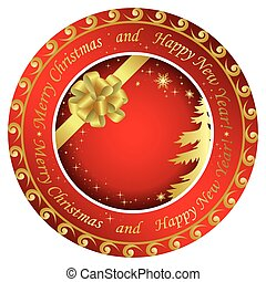 vector golden and red christmas round cards  with decorations