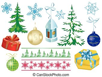 vector set of christmas decorations