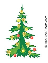 vector christmas tree with decorations