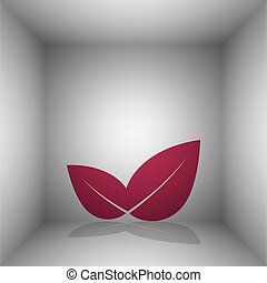 Leaf sign illustration. Bordo icon with shadow in the room.