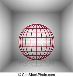 Earth Globe sign. Bordo icon with shadow in the room.
