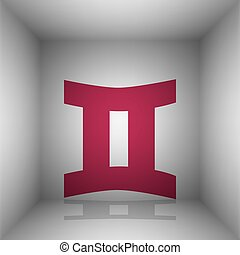 Gemini sign. Bordo icon with shadow in the room.