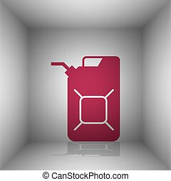 Jerrycan oil sign. Jerry can oil sign. Bordo icon with...