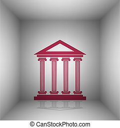 Historical building illustration. Bordo icon with shadow in...