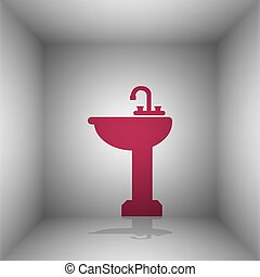 Bathroom sink sign. Bordo icon with shadow in the room.