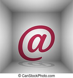 Mail sign illustration. Bordo icon with shadow in the room.