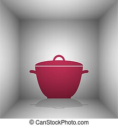 Saucepan simple sign. Bordo icon with shadow in the room.