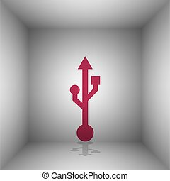 USB sign illustration. Bordo icon with shadow in the room.