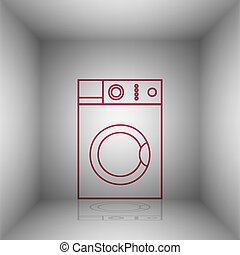 Washing machine sign. Bordo icon with shadow in the room.