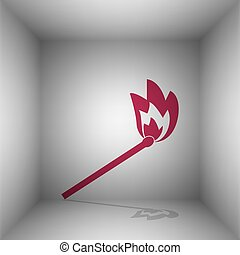 Match sign illustration. Bordo icon with shadow in the room.
