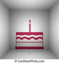 Birthday cake sign. Bordo icon with shadow in the room.