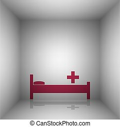 Hospital sign illustration. Bordo icon with shadow in the...