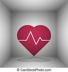 Heartbeat sign illustration. Bordo icon with shadow in the...