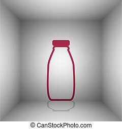 Milk bottle sign. Bordo icon with shadow in the room.